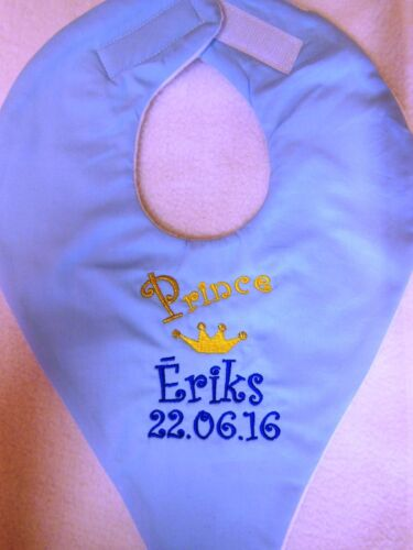 PERSONALISED PRINCE PRINCESS BABY DUMMY HOLDING BIB DUMMY NOT INCLUDED