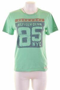 Tommy-Hilfiger-Femme-T-shirt-graphique-femme-Taille-12-moyen-en-coton-vert-CC12