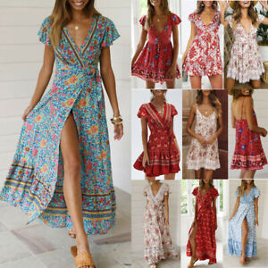 Women-Boho-V-Neck-Floral-Dress-Bohemina-Summer-Party-Evening-Beach-Sundress-CA