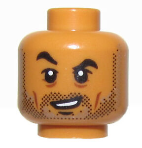 LEGO NEW FLESH COLORED MINIFIGURE HEAD CROOKED SMILE RAISED EYEBROW MALE BOY