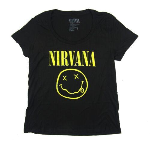 Nirvana Distressed Smiley Ladies Womens Plus Scoop Neck Black Shirt New Official