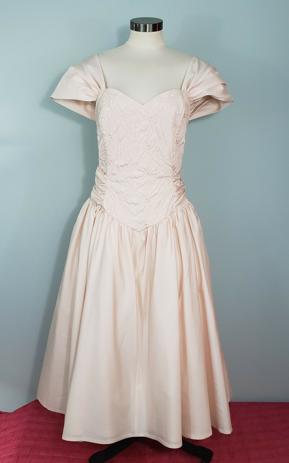 Cachet Evening Dress Blaush Rosa Embroidery Vintage 50s Style Cupcake Prom M L