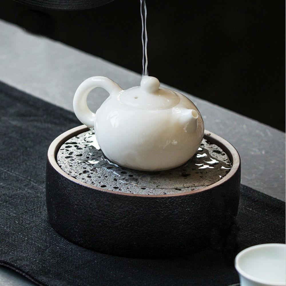 Noir pièce céramique théière coussin cérémonie du thé poterie petite serving plateau d'égouttement