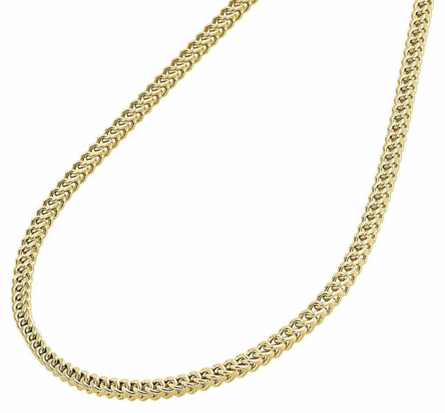 New Real 10K White Gold 2MM Hollow Franco Box Link Chain Necklace 20-30 Inches