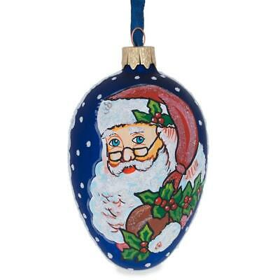 Santa With Mistletoe Glass Egg Christmas Ornament | eBay