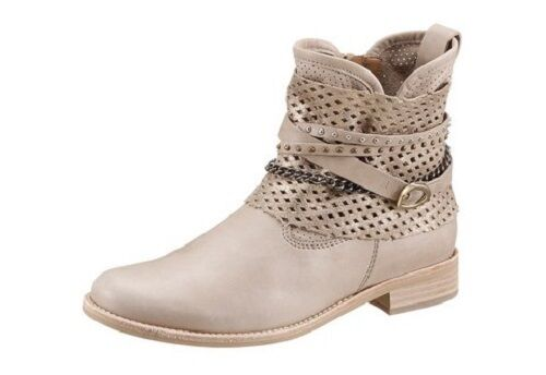 Gabor Stiefelette Gr. 7 40 2/3 7,5  41 1/3 beige Boots Nieten Schuhe NEU