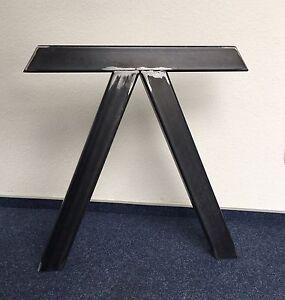 2 Stück Tischbein Stahl Design Tischkufen Stützfuss Tischgestell V