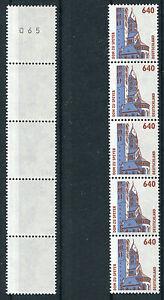Bund-1811-R-I-5er-Streifen-postfrisch-SWK-Rollenmarken-Sehenswuerdigkeiten-Nr-065
