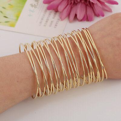 Fashion Women Jewelry Punk Rock Wide Flat Gold Silver Tone Bangle Cuff Bracelet