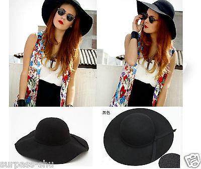 Attractive Black Vintage Lady's Wide Brim 100% Wool Felt Fedora Floppy Hat U