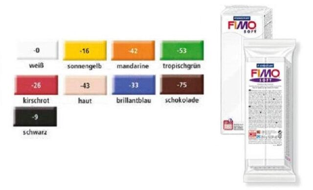Fimo Soft 350g Block Modeliermasse verschiedene Farben Knete modelieren