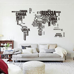 Letter world map removable vinyl decal art mural home decor room image is loading letter world map removable vinyl decal art mural gumiabroncs Choice Image