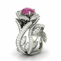 Romantic Woman's Flower Round Cut Pink Sapphire 925 Silver Ring Size 6-10