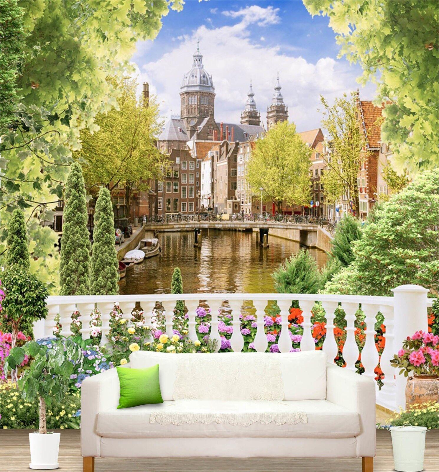 3D Schloss Garten Landschaft 86 Tapete Wandgemälde Tapeten Bild Familie DE Lemon