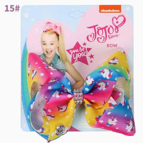 "5/"" Cartoon JoJo Siwa Wee Unicorn Hair Bow With Alligator Clip Girls Kids Bowknot"