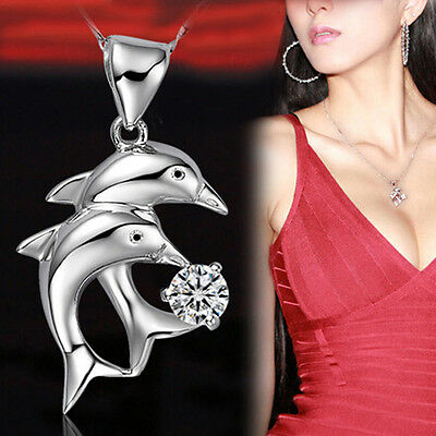 Silver plated Dolphin's Love Double Dolphins Jump Pendant Necklace Jewelry