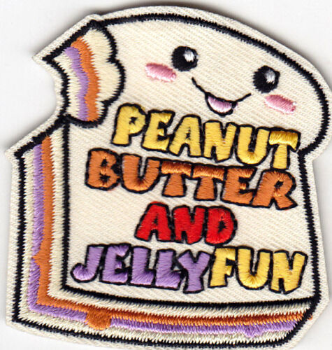PEANUT BUTTER AND JELLY FUN Iron On Patch Sandwich Food