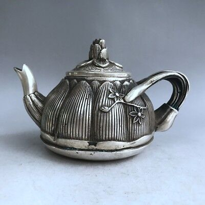 China Antiques Tibetan silver hand-carved lotus root teapot wine pot flagon