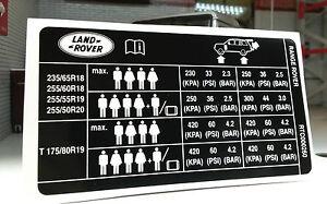 Land-Range-Rover-L322-Tyre-Pressure-Loading-Info-Decal-Label-Sticker-RTC000260