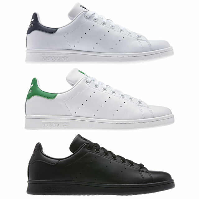 super popular hot product on feet images of MENS ADIDAS ORIGINALS STAN SMITH CLASSIC LEATHER TRAINERS WHITE BLUE GREEN  BLACK