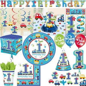 1 geburtstag junge autos deko party set erster kindergeburtstag zahl 1 blau ebay. Black Bedroom Furniture Sets. Home Design Ideas