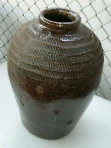 "Large Heavy Stoneware Pottery Floor Vase Jug Brown Glazed 21"" Tall"