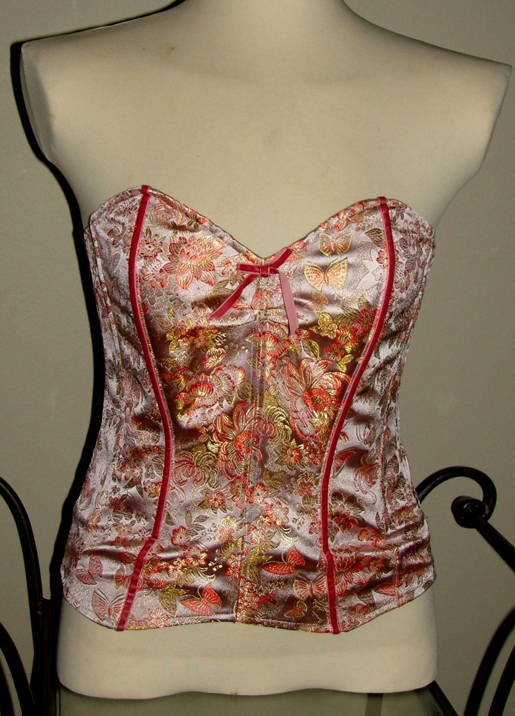 Betsey Johnson Top VINTAGE Floral CORSET Bustier BUTTERFLY Pink BROCADE Silk 8 M