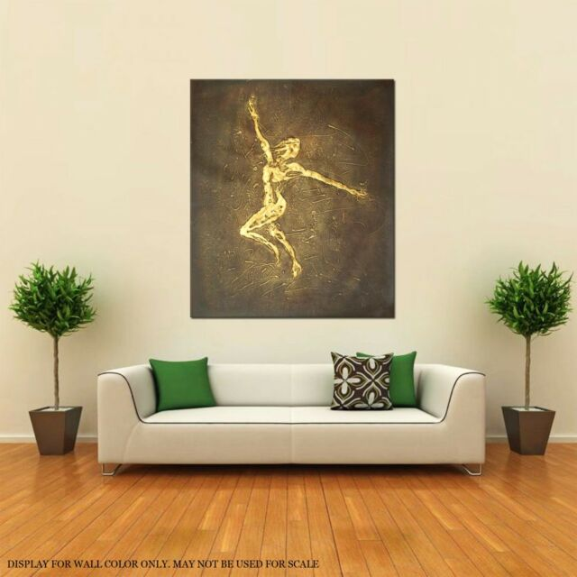 FRAMED ABSTRACT OIL PAINTING MODERN DECOR HAND PAINTED GOLD DANCER