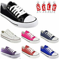 LADIES WOMENS CASUAL PLIMSOLLS LACE UP SNEAKER CANVAS SHOES PUMPS