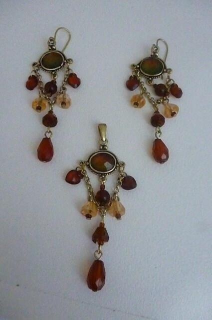 Pretty Drop Earrings & Pendant- Gold toned Autumn shades - Pierced