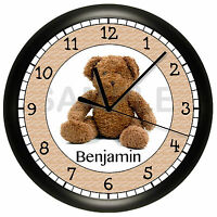 Teddy Bear Wall Clock Personalized Add Name Free Children's Bedroom Decor Tan