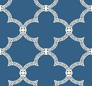 White-Geometric-Lattice-on-Cobalt-Blue-Background-on-Sure-Strip-Wallpaper-HS2060