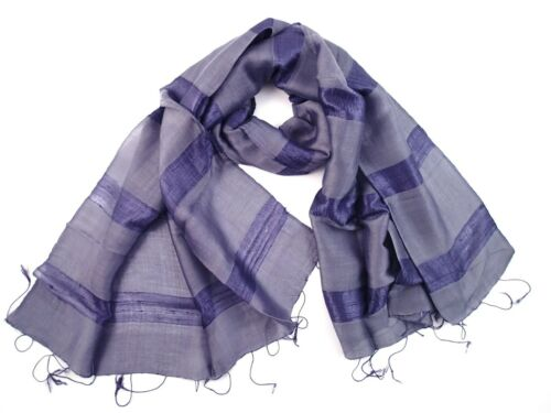 LADIES WIDE SILK BLEND SCARF SHAWL Lilac Hand Loomed in Thailand