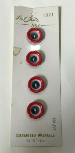 Le Chic original card 4 laminated buttons vintage red white blue