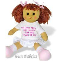 Personalised Rag Doll Baby Newborn Baby Girl Babies 1st Dolly Keepsake Gift