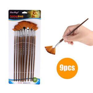 9-PCS-Fan-Paint-Brush-Set-Soft-Nylon-Hair-Paintbrush-for-Watercolor-Oil-Q4F7