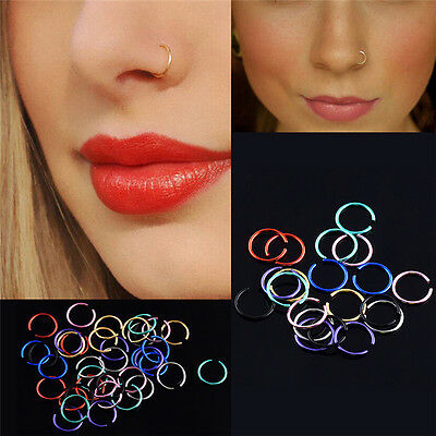 40x Colorful Stainless Steel Nose Rings Piercing Lip Hoop Piercing