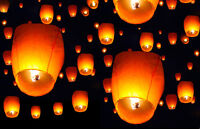 100 White Chinese Paper Sky Flying Wishing Lantern Fly Lamp Candle Party Wedding on sale