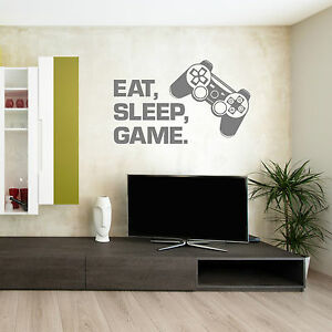 PLAYSTATION CONTROLLER Eat sleep game VINYL WALL ART STICKER DECAL