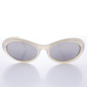 5d2d43997ed Curved Oval Vintage Sunglass 90s Grunge Pearl Frame with Mirror Lens ...