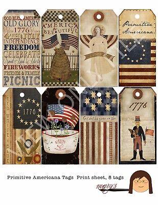 12 Primitive Patriotic Americana Hang Tags Scrapbooking Paper Crafts 287