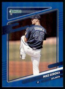2021 Donruss Baseball Base Holo Blue #102 Mike Soroka - Atlanta Braves