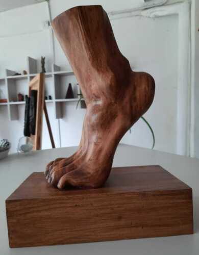 Sri Lankan Handmade Hand Carved Wood Human Foot Feet Sculpture Art Decor Carving