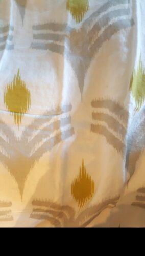 West Elm Ikat Fan Linen FULL//QUEEN Duvet Cover White Gray /& Buttercup Yellow NEW