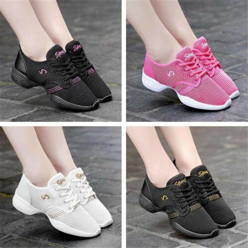 Women Sneaker Jazz Ballet Ballroom Dance Shoes Split Sole Sport Trainers Size UK