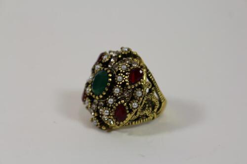 Esplendor dedo anillo señora anillo Anillo metal joyas perlas engaste estilo barroco