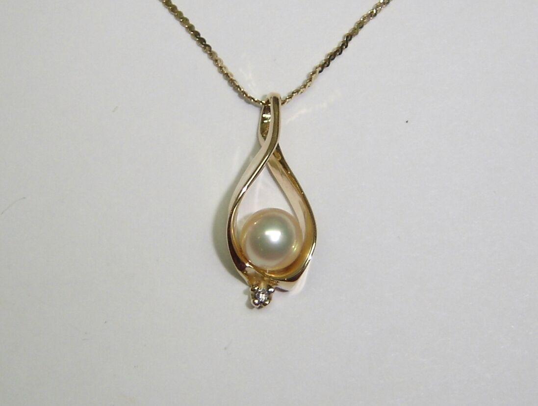 Perla Bianca Pendente a Lacrima Collana con     un Diamante in 14k oro Giallo 19   b0e045