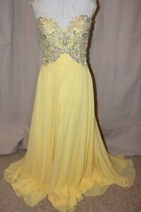 NWT-Tony-Bowls-Le-Gala-115507-Yellow-chiffon-silver-beaded-size-14-formal-gown
