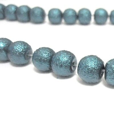 200x 4mm / 100x 6mm / 50x 8mm Textured Glass Pearl Beads - moon effect surface