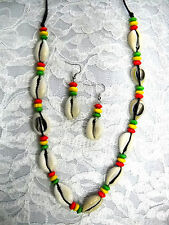 """NEW CUT COWRY SHELLS ADJUSTABLE CORD NECKLACE 16 - 26"""" w WOOD RASTA COLOR BEADS"""